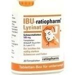 Verpackungsbild(Packshot) von IBU-RATIOPHARM Lysinat Schmerztabl.500 mg Box