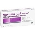 Verpackungsbild(Packshot) von NAPROXEN-1A Pharma 250 mg b.Regelschmerzen Tabl.