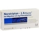 Verpackungsbild(Packshot) von NARATRIPTAN-1A Pharma bei Migräne 2,5 mg Filmtabl.