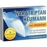 Verpackungsbild(Packshot) von NARATRIPTAN Heumann bei Migräne 2,5 mg Filmtabl.