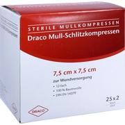 SCHLITZKOMPRESSEN Mull 7,5x7,5 cm steril 12fach