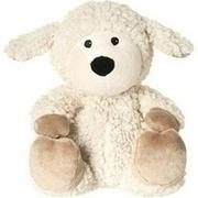 WÄRME STOFFTIER Schaf Wolle beige herausn.Kissen