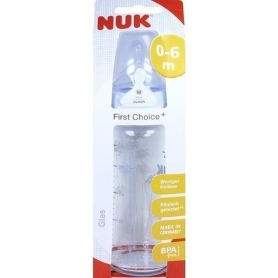 NUK First Choice+ Glasfl.Silikonsaug.Gr.1 M 240 ml