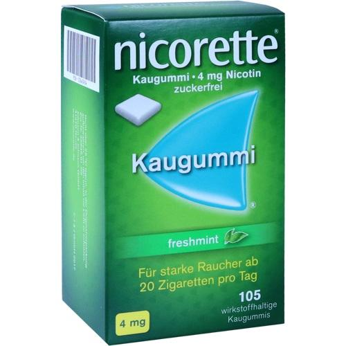 105 Tbl. Nicorette 4 mg Kaugummi freshmint