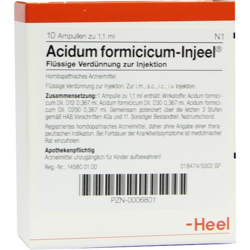 Verpackungsbild(Packshot) von ACIDUM FORMICICUM INJEEL Ampullen