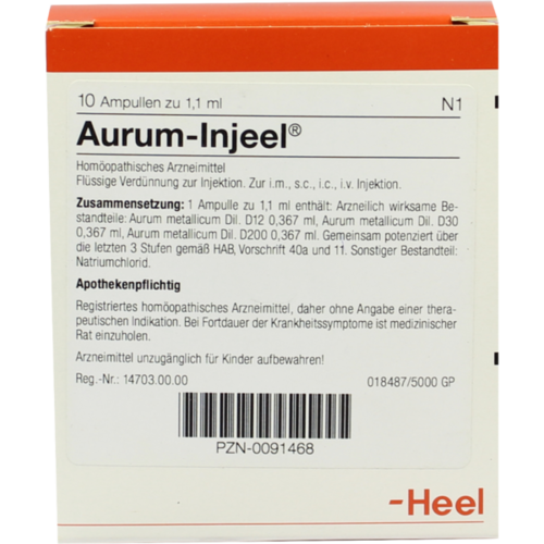 Verpackungsbild(Packshot) von AURUM INJEEL Ampullen
