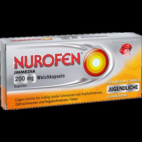 Verpackungsbild(Packshot) von NUROFEN Immedia 200 mg Weichkapseln