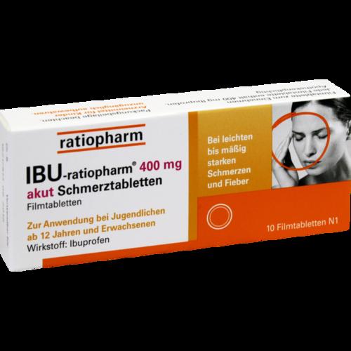 Verpackungsbild(Packshot) von IBU-RATIOPHARM 400 mg akut Schmerztbl.Filmtabl.
