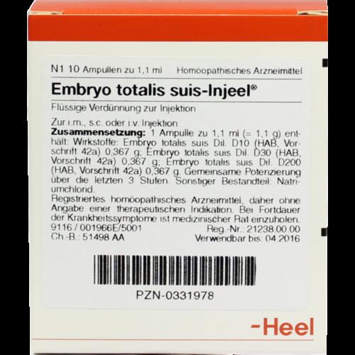 Verpackungsbild(Packshot) von EMBRYO totalis suis Injeel Ampullen