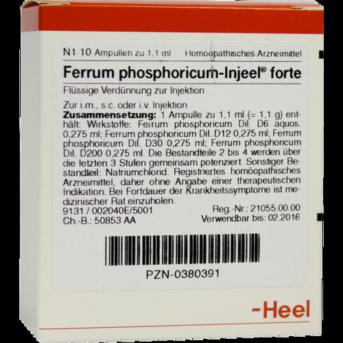 Verpackungsbild(Packshot) von FERRUM PHOSPHORICUM INJEEL forte Ampullen