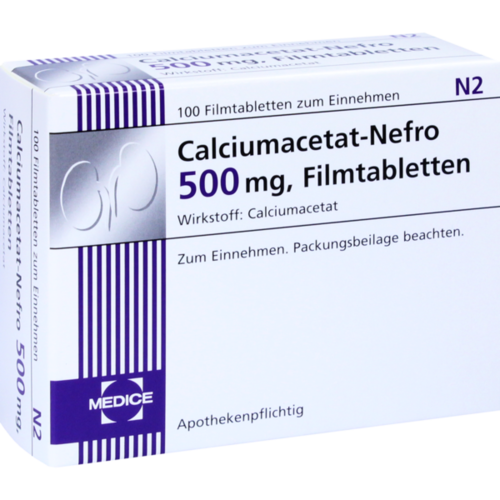 Verpackungsbild(Packshot) von CALCIUMACETAT NEFRO 500 mg Filmtabletten