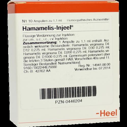 Verpackungsbild(Packshot) von HAMAMELIS INJEEL Ampullen