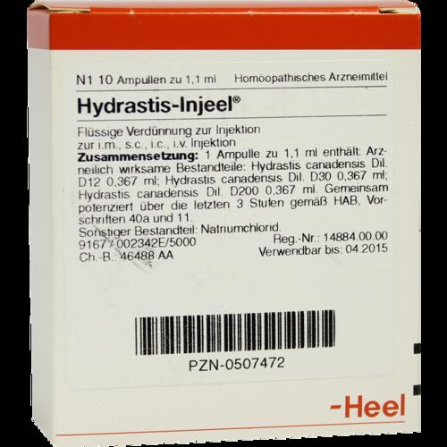 Verpackungsbild(Packshot) von HYDRASTIS INJEEL Ampullen