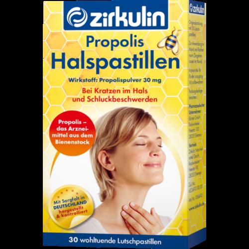 Verpackungsbild(Packshot) von ZIRKULIN Propolis Halspastillen