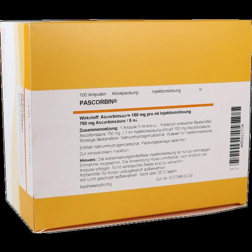 Verpackungsbild(Packshot) von PASCORBIN 750 mg Ascorbinsäure/5ml Injektionslsg.
