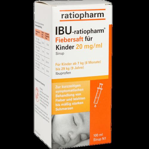 Verpackungsbild(Packshot) von IBU-RATIOPHARM Fiebersaft für Kinder 20 mg/ml
