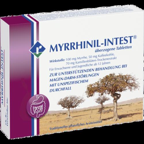 Verpackungsbild(Packshot) von MYRRHINIL INTEST überzogene Tabletten