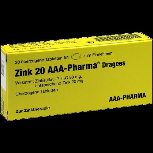Verpackungsbild(Packshot) von ZINK 20 AAA-Pharma Dragees