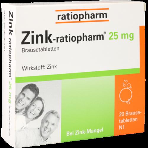 Verpackungsbild(Packshot) von ZINK-RATIOPHARM 25 mg Brausetabletten