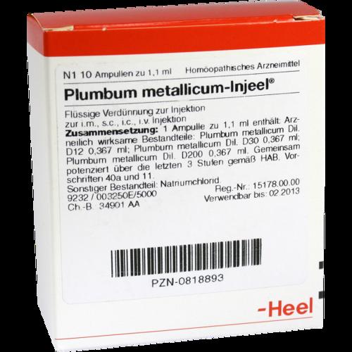 Verpackungsbild(Packshot) von PLUMBUM METALLICUM INJEEL Ampullen