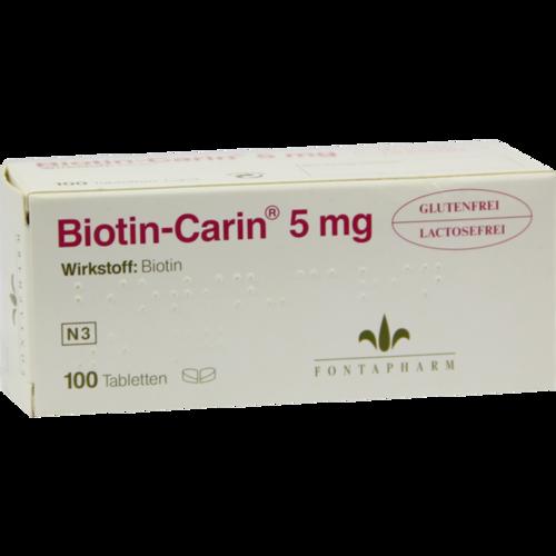 Verpackungsbild(Packshot) von BIOTIN-CARIN 5 mg Tabletten