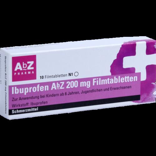 Verpackungsbild(Packshot) von IBUPROFEN AbZ 200 mg Filmtabletten