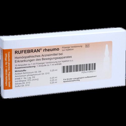 Verpackungsbild(Packshot) von RUFEBRAN rheumo Ampullen
