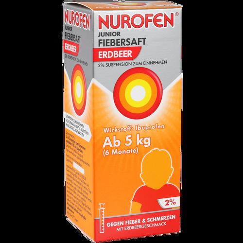 Verpackungsbild(Packshot) von NUROFEN Junior Fiebersaft Erdbeer 2%
