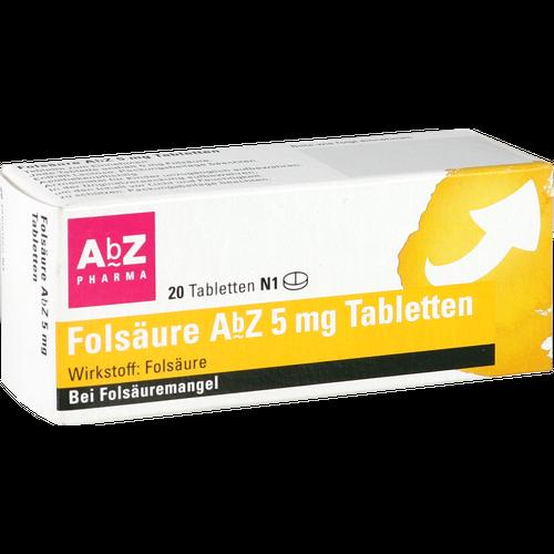 Verpackungsbild(Packshot) von FOLSÄURE AbZ 5 mg Tabletten