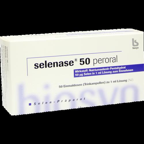 Verpackungsbild(Packshot) von SELENASE 50 peroral Lösung zum Einnehmen