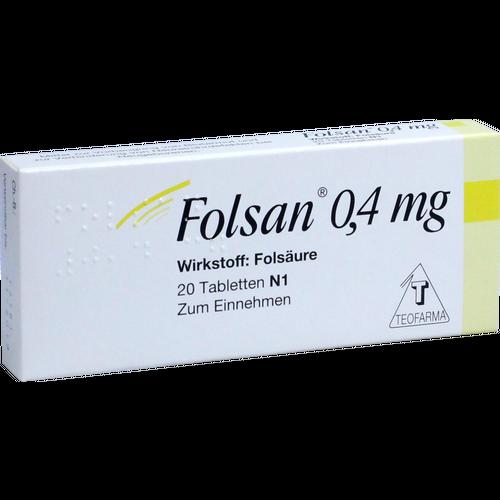 Verpackungsbild(Packshot) von FOLSAN 0,4 mg Tabletten