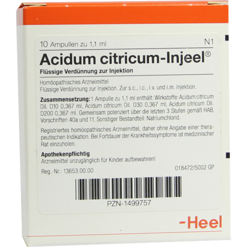 Verpackungsbild(Packshot) von ACIDUM CITRICUM INJEEL Ampullen