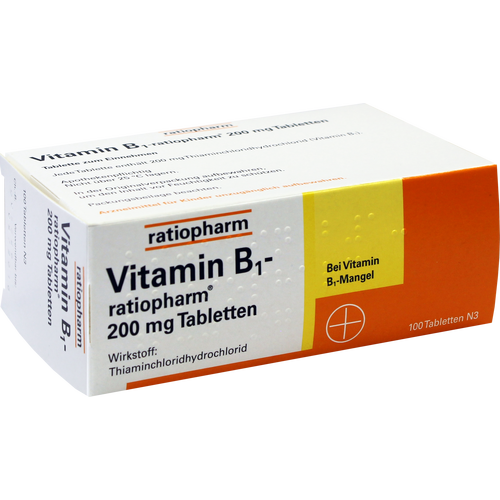 Verpackungsbild(Packshot) von VITAMIN B1-RATIOPHARM 200 mg Tabletten