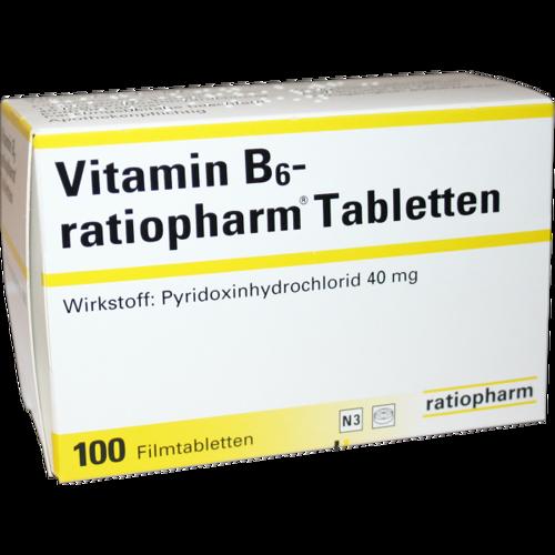 Verpackungsbild(Packshot) von VITAMIN B6-RATIOPHARM 40 mg Filmtabletten