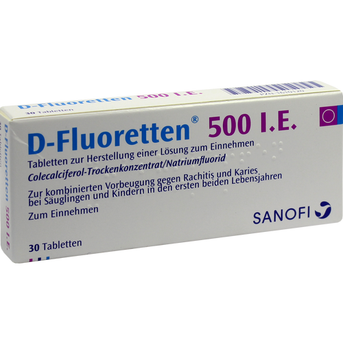 Verpackungsbild(Packshot) von D FLUORETTEN 500 Tabletten