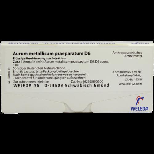 Verpackungsbild(Packshot) von AURUM METALLICUM PRAEPARATUM D 6 Ampullen