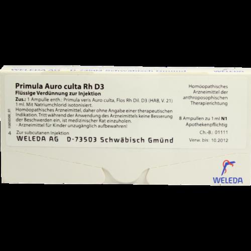 Verpackungsbild(Packshot) von PRIMULA AURO culta RH D 3 Ampullen