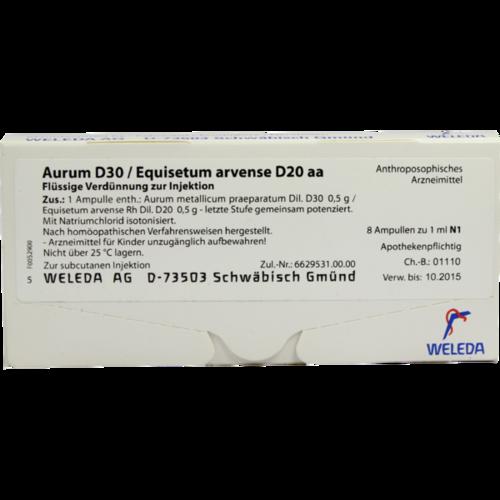 Verpackungsbild(Packshot) von AURUM D 30/Equisetum arvense D 20 aa Ampullen