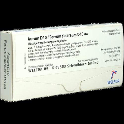 Verpackungsbild(Packshot) von AURUM D 10/Ferrum sidereum D 10 aa Ampullen