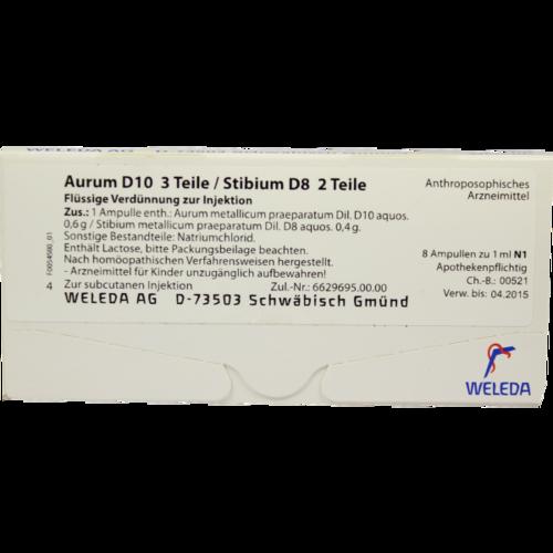 Verpackungsbild(Packshot) von AURUM D 10/Stibium D 8 Ampullen