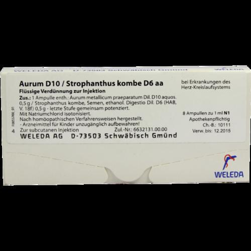Verpackungsbild(Packshot) von AURUM D 10/Strophanthus kombe D 6 aa Ampullen