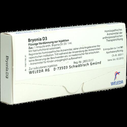 Verpackungsbild(Packshot) von BRYONIA D 3 Ampullen
