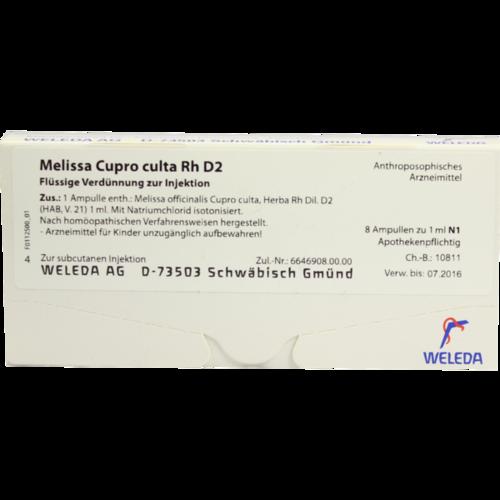 Verpackungsbild(Packshot) von MELISSA CUPRO culta RH D 2 Ampullen