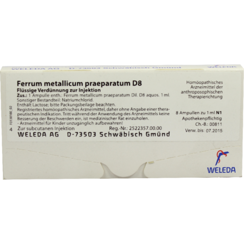 Verpackungsbild(Packshot) von FERRUM METALLICUM PRAEPARATUM D 8 Ampullen