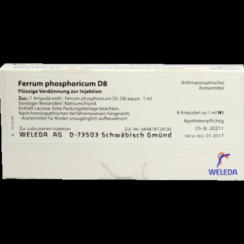 Verpackungsbild(Packshot) von FERRUM PHOSPHORICUM D 8 Ampullen