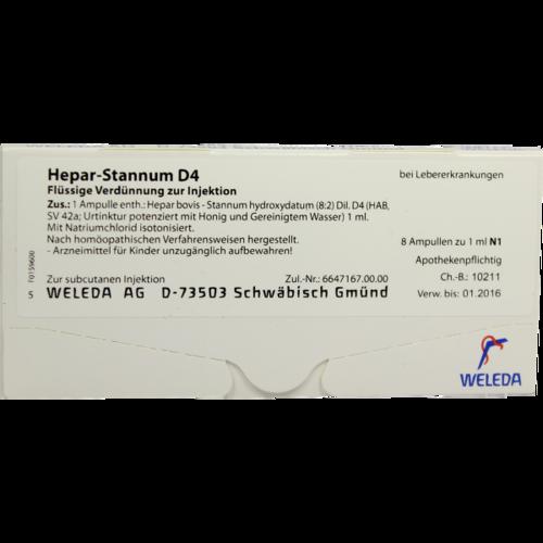Verpackungsbild(Packshot) von HEPAR STANNUM D 4 Ampullen