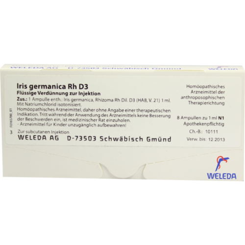 Verpackungsbild(Packshot) von IRIS GERMANICA Rh D 3 Ampullen