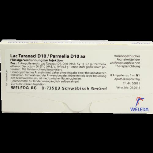 Verpackungsbild(Packshot) von LAC TARAXACI D10/ PARMELIA D10 aa Ampullen