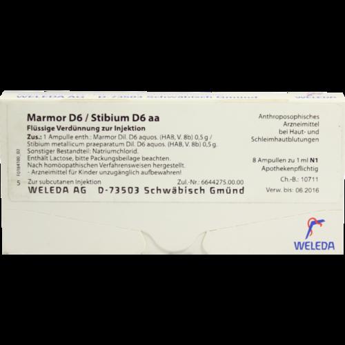 Verpackungsbild(Packshot) von MARMOR D 6/Stibium D 6 aa Ampullen