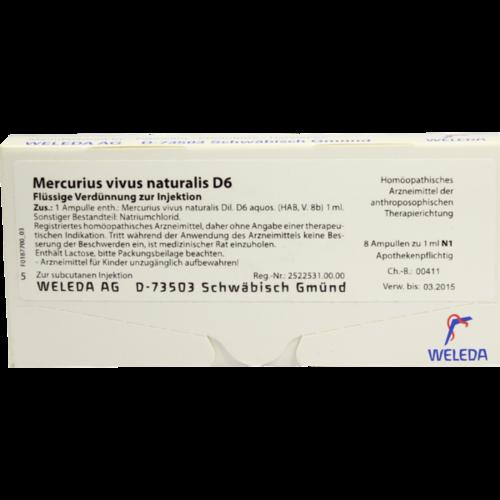 Verpackungsbild(Packshot) von MERCURIUS VIVUS NATURALIS D 6 Ampullen